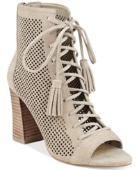 Marc Fisher Shaini Perforated Lace Up Peep Toe Booties Women's Shoes Taupe