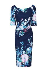 Jolie Moi Retro Floral Half Sleeve Ruched Dress Navy