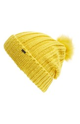 Maison Scotch Women's Faux Fur Pom Beanie Yellow Carnaby Yellow