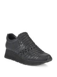 Ld Tuttle The Fossil Woven Leather Slip On Wedge Sneakers Black