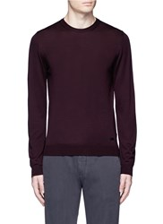 Armani Collezioni Wool Crew Neck Sweater Red