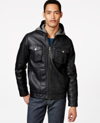 Sean John Pebble Faux Leather Hooded Jacket Black