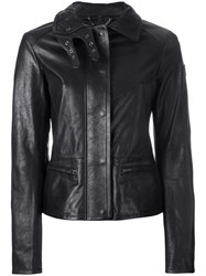 Belstaff Jacket With Quilted Collar And Biker Detail Black
