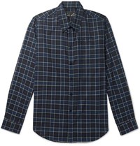 Martine Rose Checked Cotton Flannel Shirt Navy