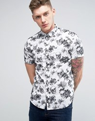Brave Soul All Over Skull And Flower Print Short Sleeve Shirt Black