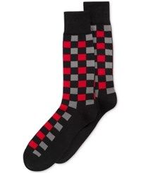 Alfani Spectrum Men's Socks Block Plaid Crew Single Pack Charcoal Red
