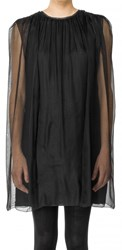 Leon Max Silk Mesh Chiffon Capelet Dress