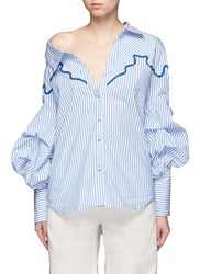 Johanna Ortiz 'Anelise' Puff Sleeve Braided Embroidery Stripe Shirt Multi Colour