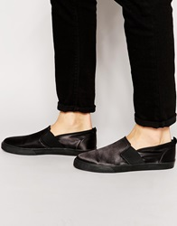 Asos Slip On Plimsolls In Satin Feel Black
