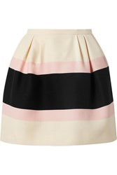 Valentino Striped Wool And Silk Blend Crepe Mini Skirt Cream