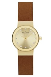 Skagen Women's Freja Crystal Index Leather Strap Watch Brown