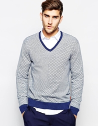 Ben Sherman V Neck Geo Print Jumper Blue