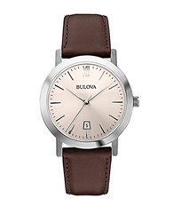 Bulova Mens Stainless Steel Dress Collection Watch With Leather Strap Brown
