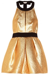 Miu Miu Crepe Trimmed Metallic Brocade Dress Net A Porter.Com