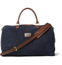 Andersons Suede And Full Grain Leather Holdall Navy