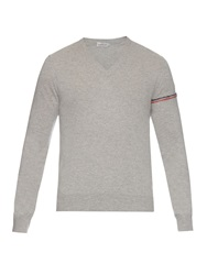 Moncler V Neck Wool Knit Sweater