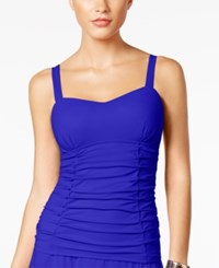 Gottex Profile By Origami Bra Sized Underwire Ruched Tankini Top Women's Swimsuit Royal
