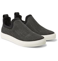 James Perse Zuma Neoprene Trimmed Canvas Slip On Sneakers Charcoal