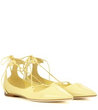 Jimmy Choo Vita Patent Leather Lace Up Ballerinas Yellow