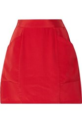 Fleur Du Mal Silk Crepe Mini Skirt Red