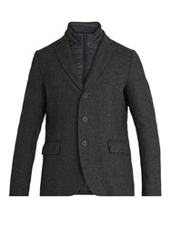 Herno Detachable Placket Single Breasted Wool Coat Charcoal