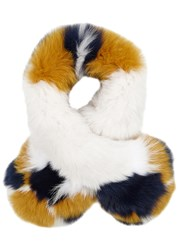 Yves Salomon Colour Blocked Fur Scarf Multicoloured