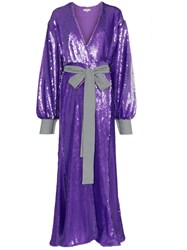 Natasha Zinko Sequin Embellished Maxi Robe Dress Purple
