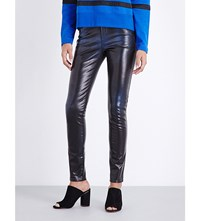 Diesel Waxed Coated Skinny Mid Rise Jeans Blue