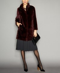 The Fur Vault Sheared Beaver Coat Burgundy