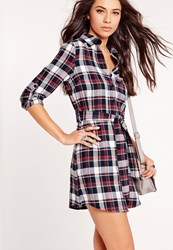Missguided Long Sleeve Tie Waist Shirt Dress Red Navy Check Blue