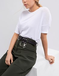 Weekday Leather Belt With Ring Detail Black