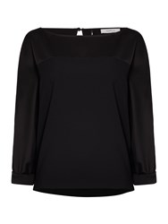 Marella Iorgo Long Sleeve Silk Top Black