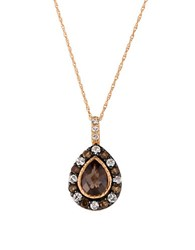 Levian Topaz Smoky Quartz And 14K Rose Gold Pendant Necklace