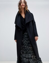 Religion Double Breasted Coat With Drapey Collar Detail Jet Black