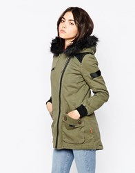 Bellfield Parka With Asymmetric Zip And Faux Fur Hood Green