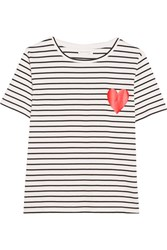 Chinti And Parker Printed Striped Cotton Jersey T Shirt Black