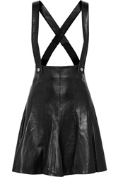 Sandro Jeda Overall Leather Mini Skirt Black