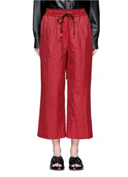 3.1 Phillip Lim Stripe Cotton Silk Drawstring Wide Leg Pants Red Multi Colour