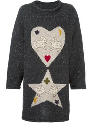 Jc De Castelbajac Vintage Heart And Star Intarsia Knit Jumper Grey