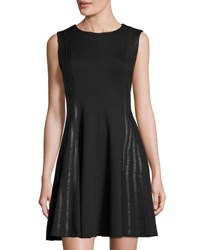 P. Luca Faux Leather Strip Fit And Flare Dress Black