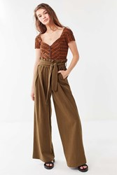Urban Outfitters Uo Bennie Paperbag Wide Leg Pant Olive