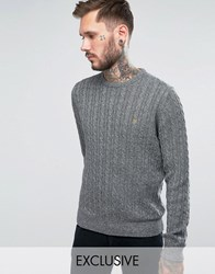 Farah Jumper With Cable Knit Exclusive Pirate Black