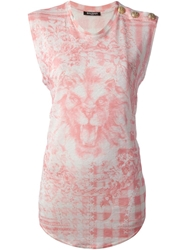 Balmain Lion Print T Shirt Pink And Purple