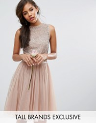 Maya Tall Sleeveless Sequin Top Midi Dress With Tulle Skirt And Bow Back Detail Mink Pink