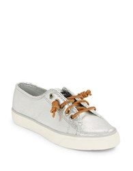 Sperry Seacoast Embossed Leather Sneakers Silver
