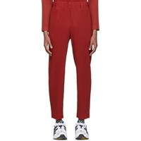 Homme Plisse Issey Miyake Red Pleated Tailored Trousers