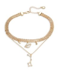 Bcbgeneration Crystal And Faux Pearl Pendant Necklace Gold