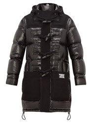 Burberry Hooded Technical Wool And Quilted Down Coat Black
