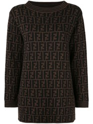 Fendi Vintage Ff Logo Jumper Brown