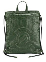 Zanellato Logo Embossed Backpack Green